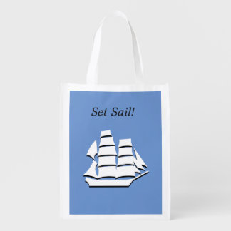Polyester Bag - White Schooner Graphic Grocery Bags