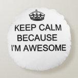 "Polyester Round Pillow (16"") Keep Calm(customize)"
