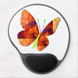 Polygon Mosaic Butterfly Orange & Gold Gel Mouse Mat