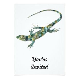 "Polygon Mosaic Green Lizard 5"" X 7"" Invitation Card"