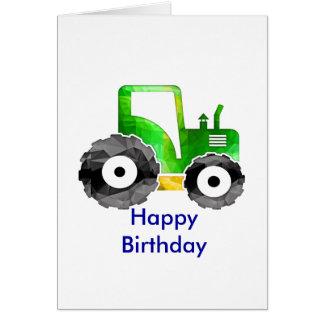 Polygon Mosaic Green & Yellow Tractor Card