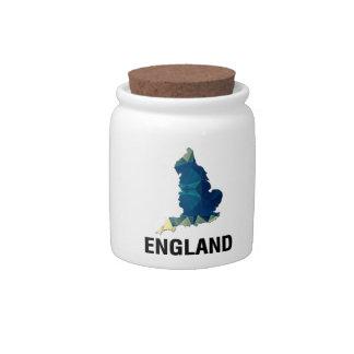 Polygon Mosaic Map of England Candy Jar