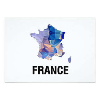 Polygon Mosaic Map of France 5x7 Paper Invitation Card