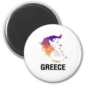Polygon Mosaic Map of Greece Magnets