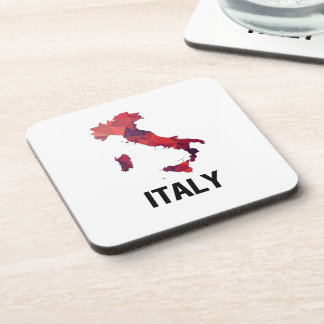 Polygon Mosaic Map of Italy Drink Coaster