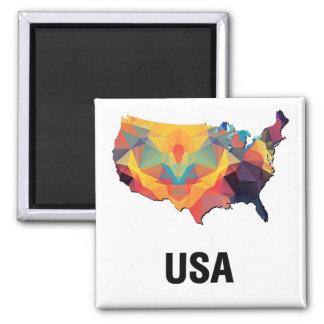 Polygon Mosaic Map of United States USA Refrigerator Magnets