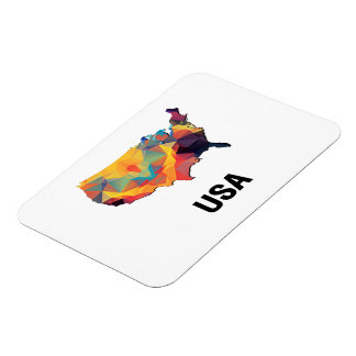 Polygon Mosaic Map of United States USA Magnet