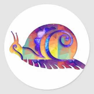 Polygon Mosaic Multicolored Snail Classic Round Sticker