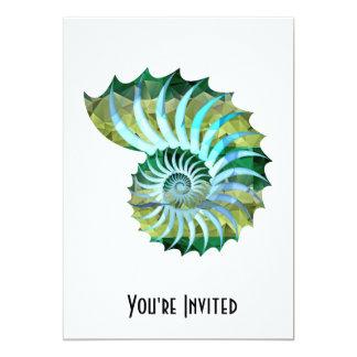 Polygon Mosaic Nautilus Shell Blue & Green Personalized Invite