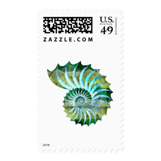 Polygon Mosaic Nautilus Shell Blue & Green Postage Stamps
