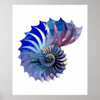 Polygon Mosaic Nautilus Shell Blue & Purple Poster
