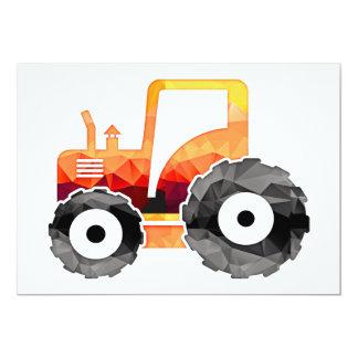 Polygon Mosaic Orange Tractor Card