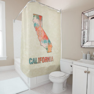 Polygon Mosaic Parchment Map CALIFORNIA Shower Curtain