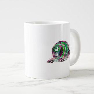 Polygon Mosaic Purple & Green Snail Large Coffee Mug