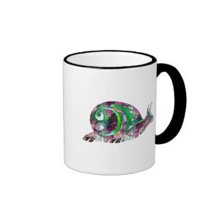 Polygon Mosaic Purple & Green Snail Ringer Mug