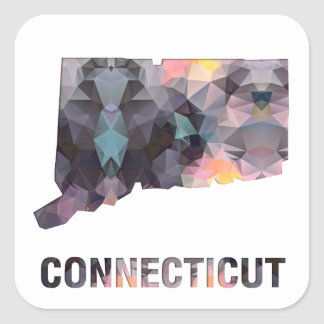 Polygon Mosaic State Map  CONNECTICUT Square Sticker