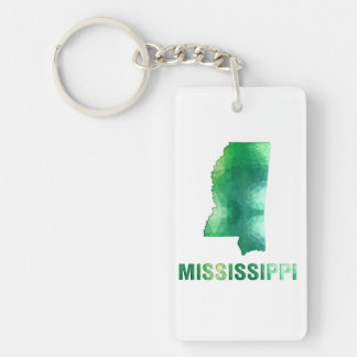 Polygon Mosaic State Map  MISSISSIPPI Keychain