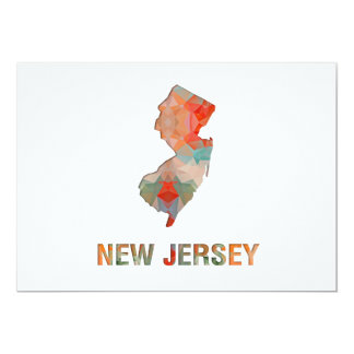 Polygon Mosaic State Map  NEW JERSEY 5x7 Paper Invitation Card
