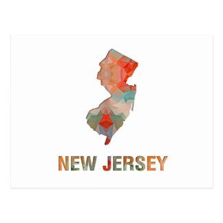 Polygon Mosaic State Map  NEW JERSEY Postcard