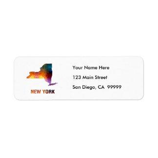 Polygon Mosaic State Map  NEW YORK Label