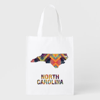 Polygon Mosaic State Map  NORTH CAROLINA Grocery Bag