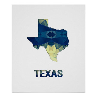 Polygon Mosaic State Map TEXAS Poster