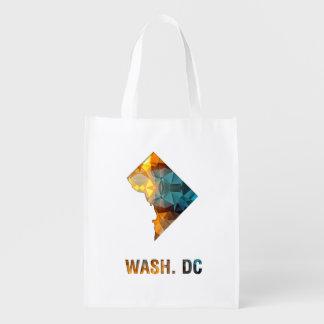 Polygon Mosaic State Map WASH DC Reusable Grocery Bag