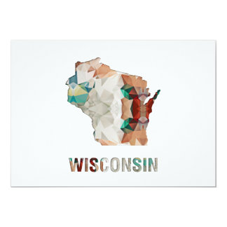 Polygon Mosaic State Map WISCONSIN Card