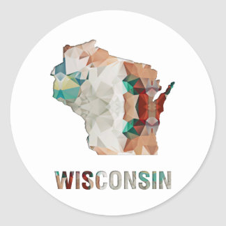 Polygon Mosaic State Map WISCONSIN Classic Round Sticker