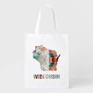 Polygon Mosaic State Map WISCONSIN Grocery Bag