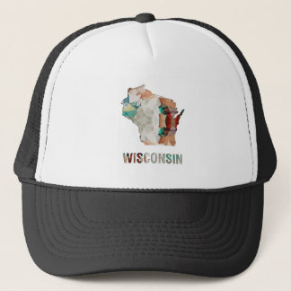 Polygon Mosaic State Map WISCONSIN Trucker Hat
