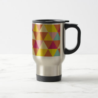 Polygon Multi color Triangles in Geometrical Shape 15 Oz Stainless Steel Travel Mug