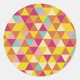 Polygon Multi color Triangles in Geometrical Shape Classic Round Sticker