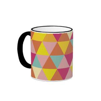 Polygon Multi color Triangles in Geometrical Shape Ringer Coffee Mug