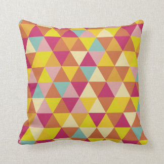 Polygon Multi color Triangles in Geometrical Shape Throw Pillow