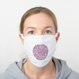 polygon pattern with a soft color tone - white cotton face mask