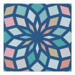 polygon pattern with cool colors - faux canvas print