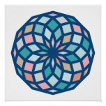 polygon pattern with cool colors - poster
