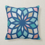polygon pattern with cool colors - throw pillow