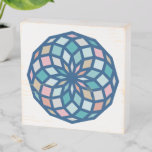 polygon pattern with cool colors - wooden box sign
