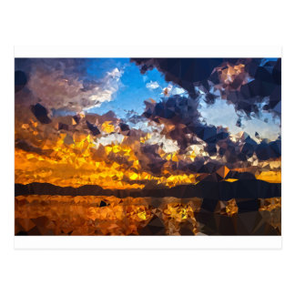 Polygon sunset postcard
