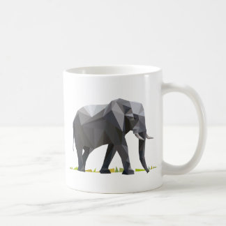 polygon trifishes graphic kind elephant classic white coffee mug