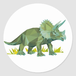polygon trifishes graphic kind triceratops classic round sticker