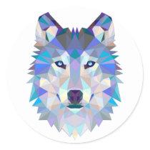 Polygon wolf - geometric wolf - abstract wolf classic round sticker