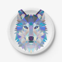 Polygon wolf - geometric wolf - abstract wolf paper plate