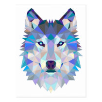 Polygon wolf - geometric wolf - abstract wolf postcard