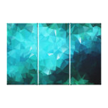 Polygonal Aquamarine 3-Panel Wrapped Canvas Print