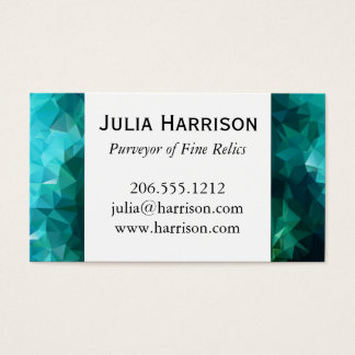 Polygonal Aquamarine Abstract Business Card