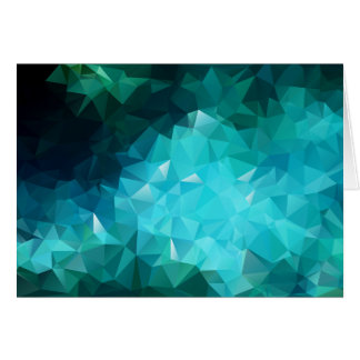 Polygonal Aquamarine Abstract Greeting Cards
