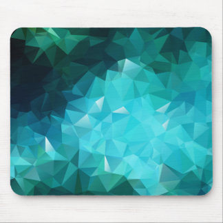 Polygonal Aquamarine Abstract Mousepads